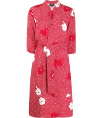 a.p.c. waist-tied shirt dress - red