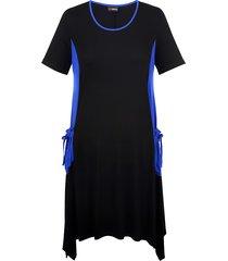 jersey jurk miamoda zwart::royal blue