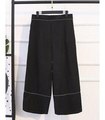 pantaloni larghi in vita elasticizzati neri elastici per le donne