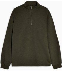 mens khaki marl peached 1/4 sweatshirt