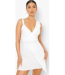 wikkel bodycon mini blazer jurk, white
