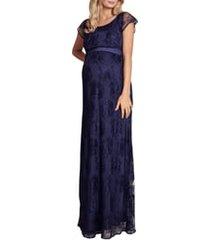 women's tiffany rose april lace maternity/nursing gown, size 6 - blue