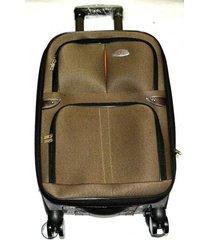 maleta de lona s1 mediana 24pulgadas- café claro con naranja