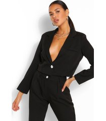 crop textured blazer, black