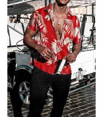 hombre algodón con estampado tropical hawaii camisa