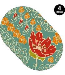 capa para sousplat mdecore flor verde 4pã§s - verde - dafiti