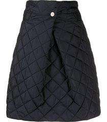 ganni quilted a-line skirt - black