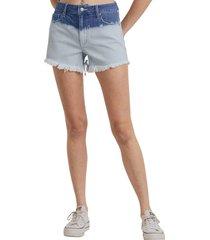 women's l.t.j bleached ombre high waist cutoff denim shorts, size medium - blue