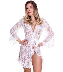 robe em renda estilo sedutor em fita de cetim branca - ek5014 - branco - feminino - renda - dafiti