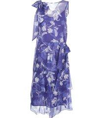 parosh boat neck dress w/voille fantasy