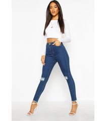 frayed hem distressed skinny jeans, mid blue