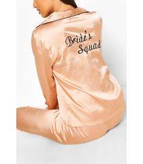 brides squad satijnen broekenset, roségoud