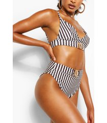 lion trim stripe triangle bikini top, black