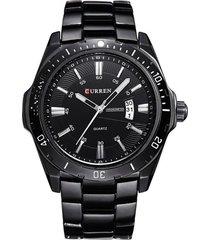 reloj hombre deportivo militar acero curren 8110 negro
