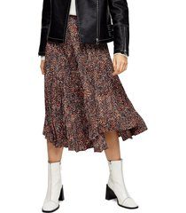 petite women's topshop animal print pleated skirt