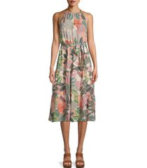 parker women's leonora silk leaf-print dress - size m