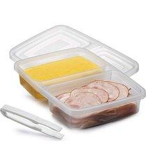 porta frios com divisória tampa para microondas freezer 1,1l