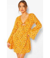 bloemenprint jurk met wijde mouwen, oranje