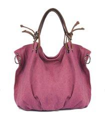 tela di canapa con il sacchetto di spalla della borsa del sacchetto di hobos del cuoio genuino