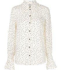 baum und pferdgarten polka-dot print fluted-cuff shirt - white