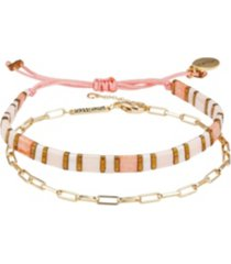 gold flash plated link chain and pink bracelet set