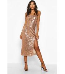 tall thigh split sequin midi dress, rose gold