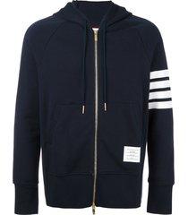 thom browne engineered 4-bar zip-up jersey hoodie - blue