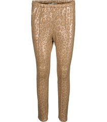 glanzende legging met luipaardprint kaya  goud
