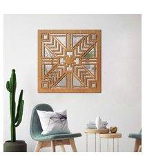 escultura de parede wevans geometrico, madeira + espelho decorativo único