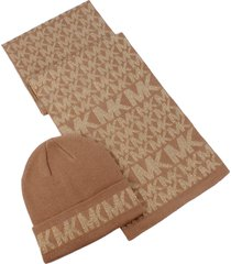 women's michael kors metallic logo beanie & scarf set, size one size - beige