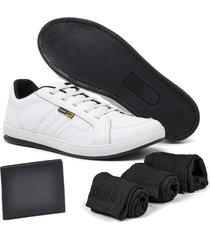 sapatãªnis zabath em couro branco com carteira e 3 meias - branco - dafiti