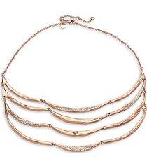 encrusted 10k rose goldplated 4-strand draped bib necklace