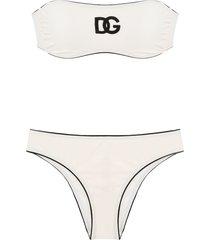 dolce & gabbana logo embroidered bandeau bikini - neutrals