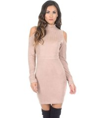 ax paris high neck cold shoulder faux suede mini dress