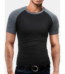magliette a manica corta in cotone da uomo collo a punta con collo a toppa