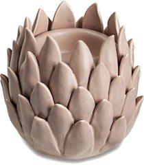 porta velas cerâmica rosa 9,5cm mart