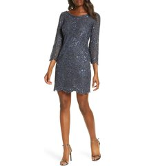 women's pisarro nights embellished mesh cocktail dress, size 4 - blue