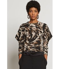 proenza schouler feather print puff sleeve t-shirt fatigue/black/tan feather/white m