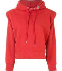 maison mihara yasuhiro shoulder pad logo patch hoodie - red