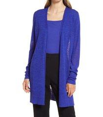 women's halogen side slit cardigan, size xx-large - blue