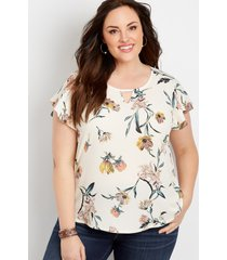 maurices plus size womens floral keyhole blouse white