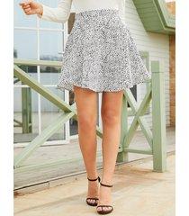 falda de talle alto con estampado animal blanco yoins