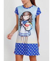 pyjama's / nachthemden admas beachball santoro blauwe korte mouwen nachthemd