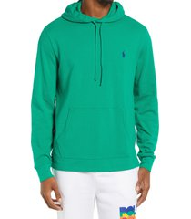 men's polo ralph lauren pique pullover hoodie, size medium - green