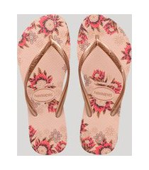 chinelo feminino havaianas slim estampado floral rosê