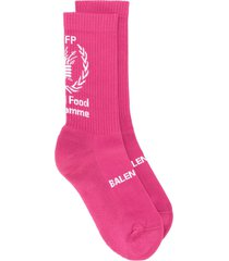 balenciaga world food programme print socks - pink