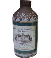 garrafa decorativa média de cerâmica cinza kasa ideia 14x6cm - tricae