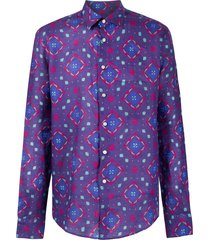 peninsula swimwear positano printed shirt - purple