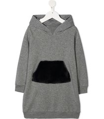 il gufo faux-fur pocket hoodie dress - grey
