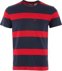 levi's sunset pocket t-shirt - dress blues & lychee stripe 298130077